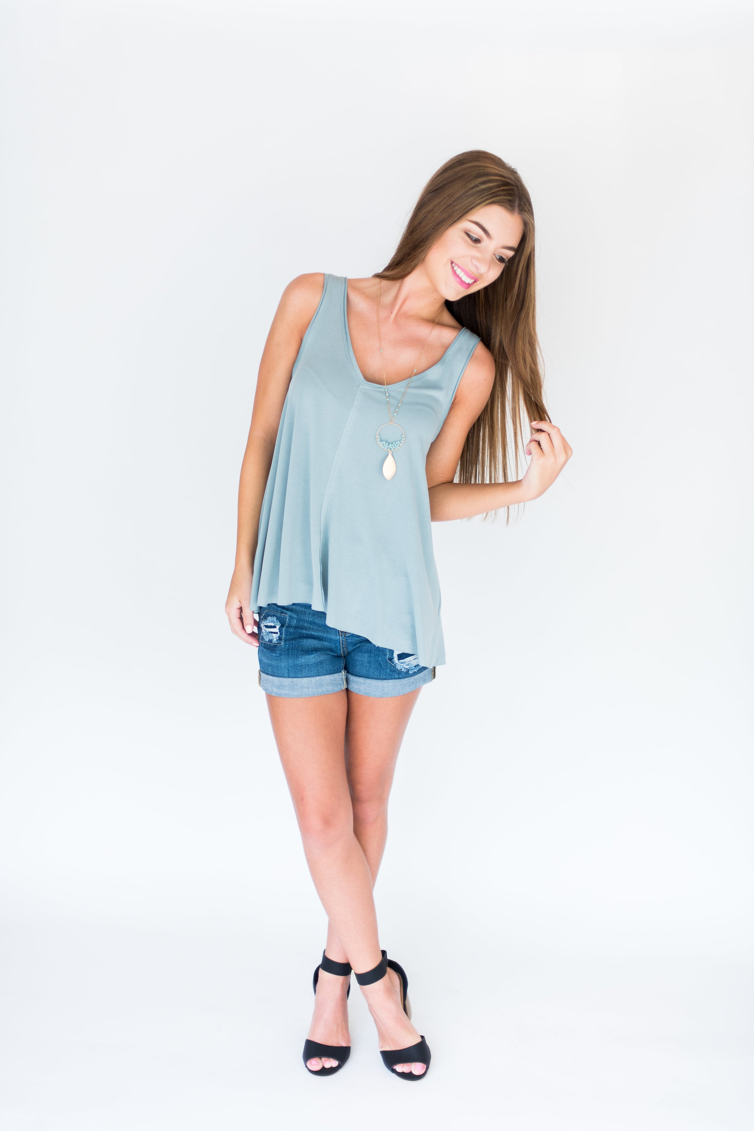 Sweet Summer Modal Swing Top:  Slate