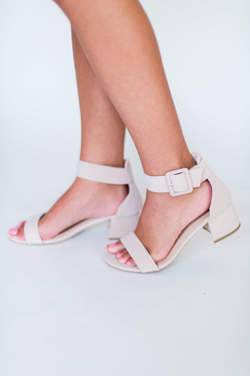 Never Goes Out of Style Low Heel with Ankle Strap:  Nude