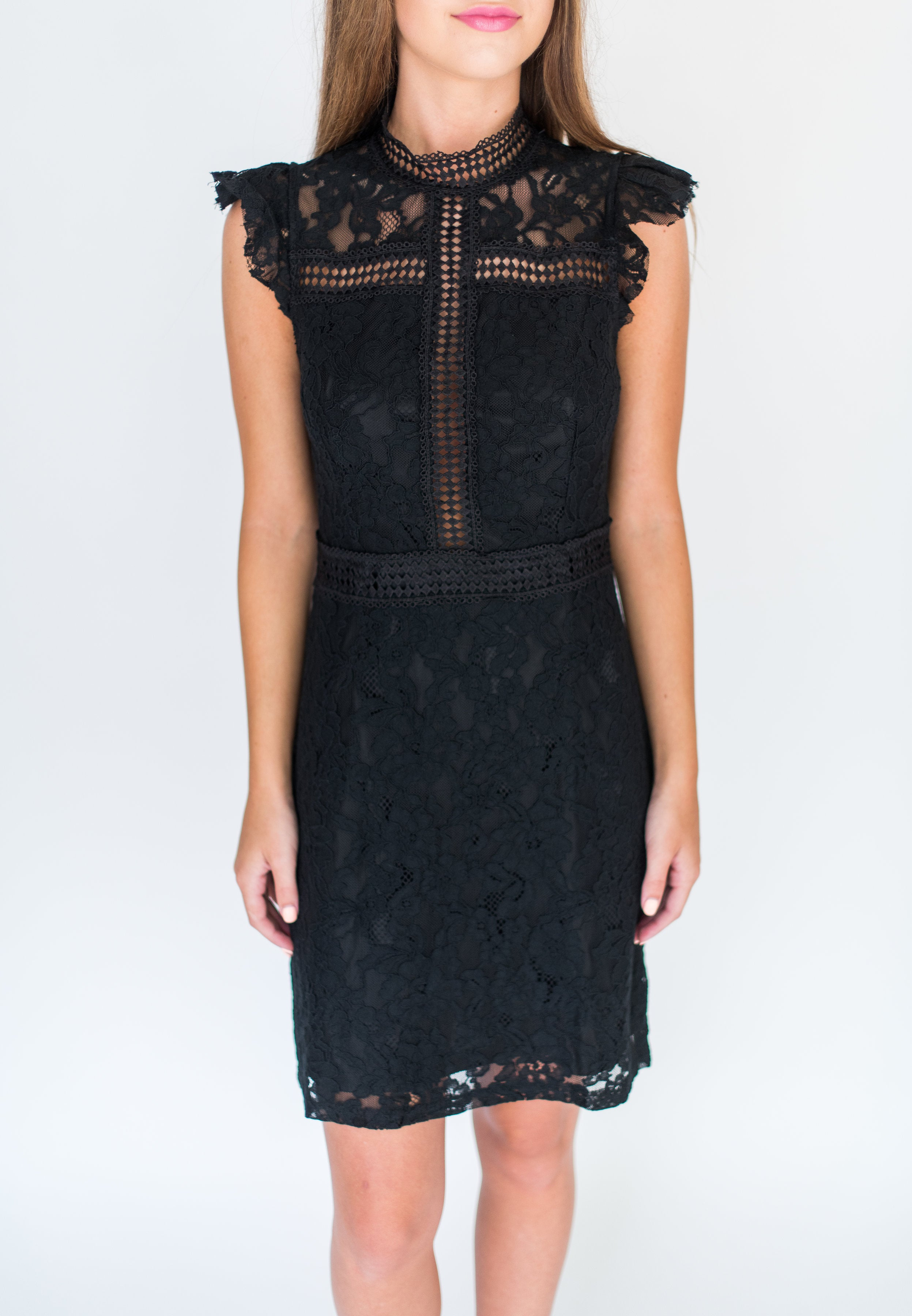 Put Those Rumors to Rest High Neck Crochet and Lace Dress:  Black