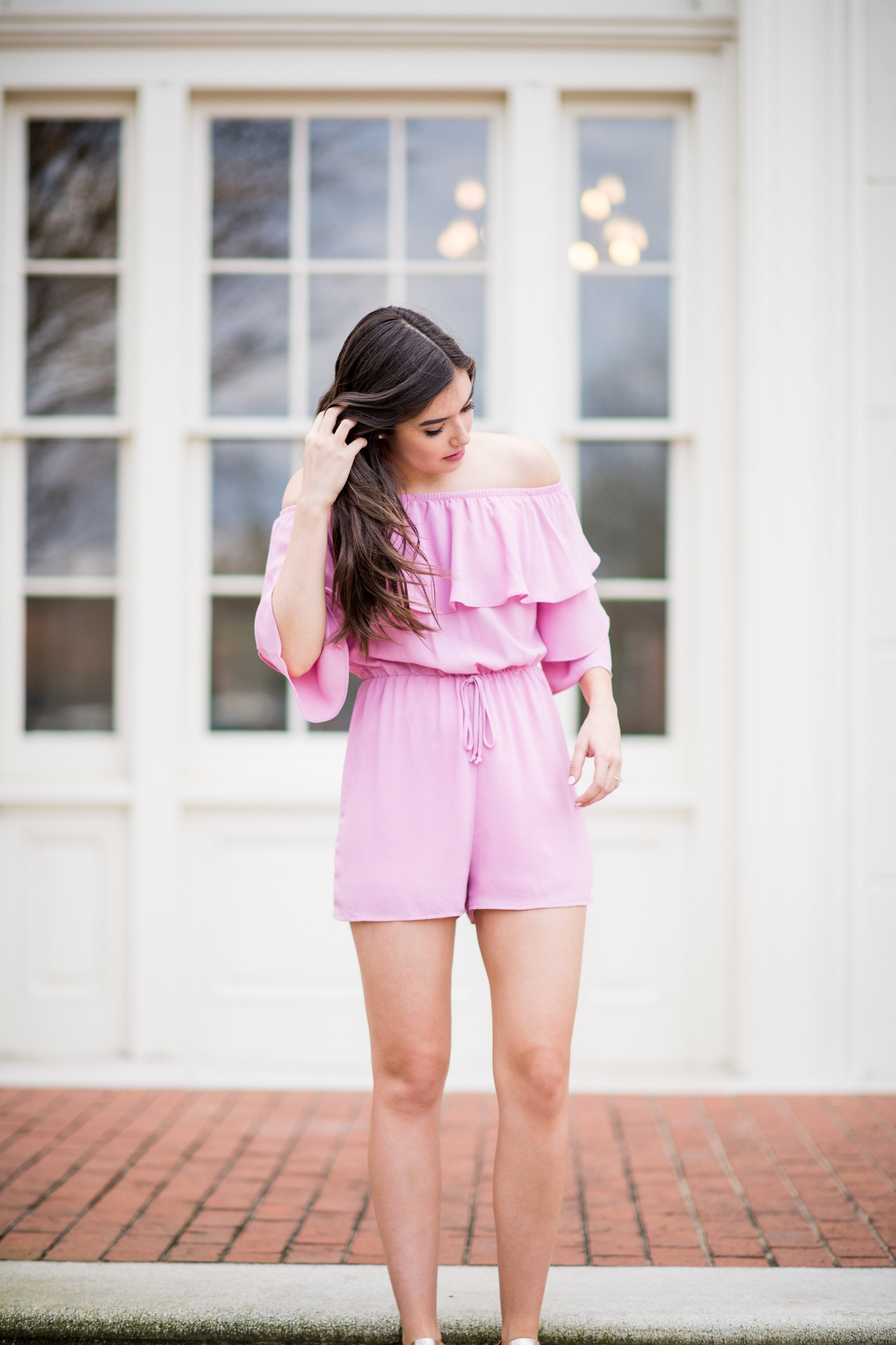 Best Dressed Off the Shoulder Romper with Ruffle Sleeves