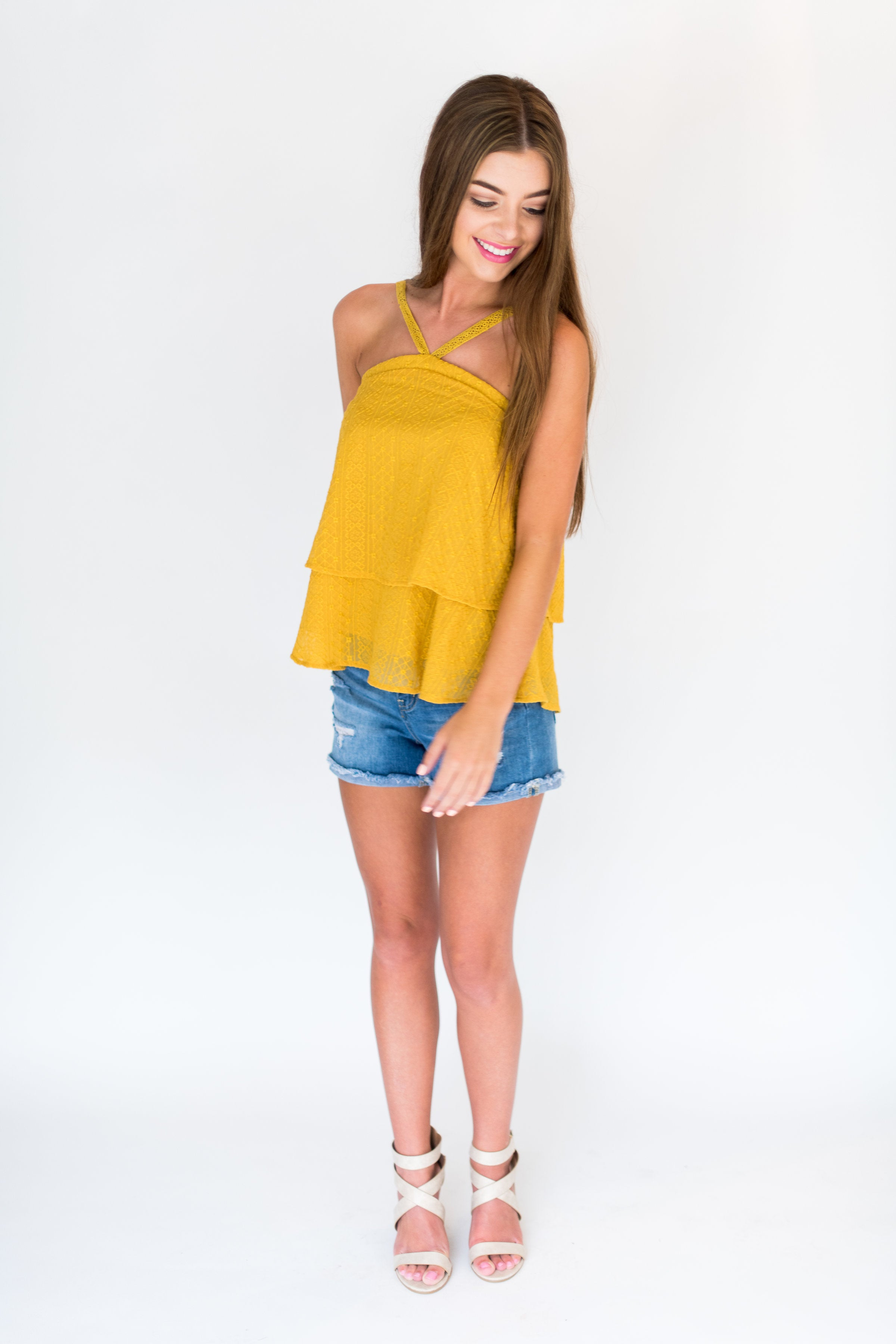 Meet Me in the Middle Embroidery Halter Neck Layered Top:  Mustard