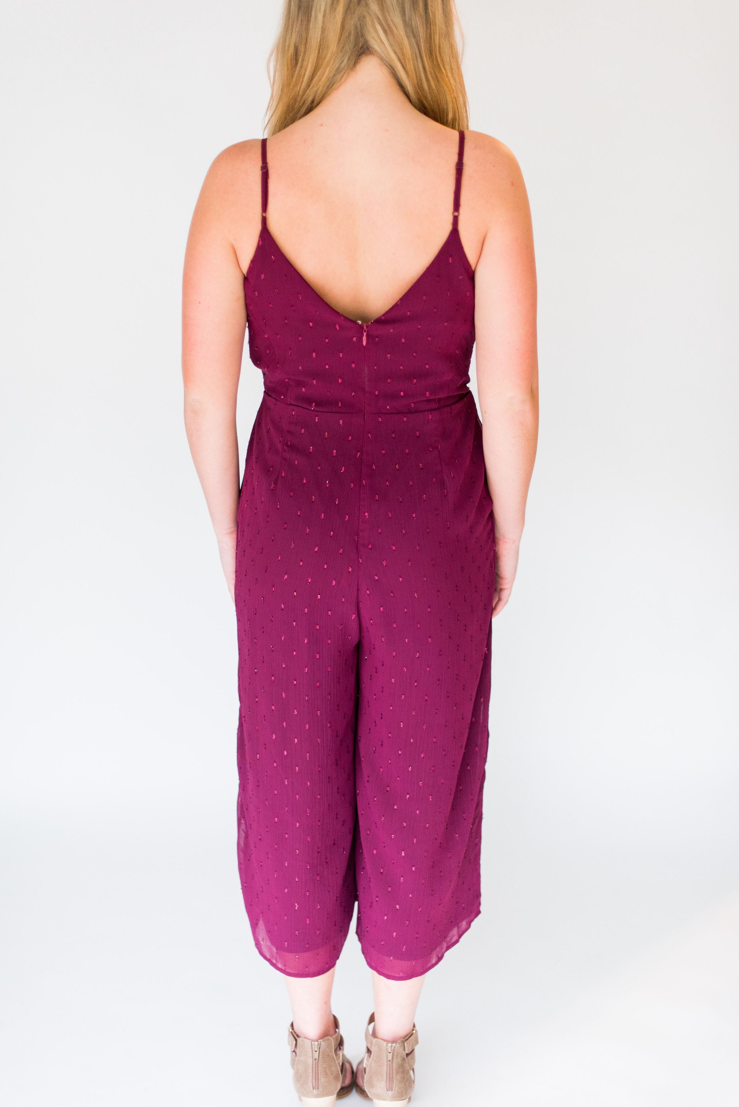 You Had Me at Merlot Cropped Jumpsuit with Front Tie:  Merlot