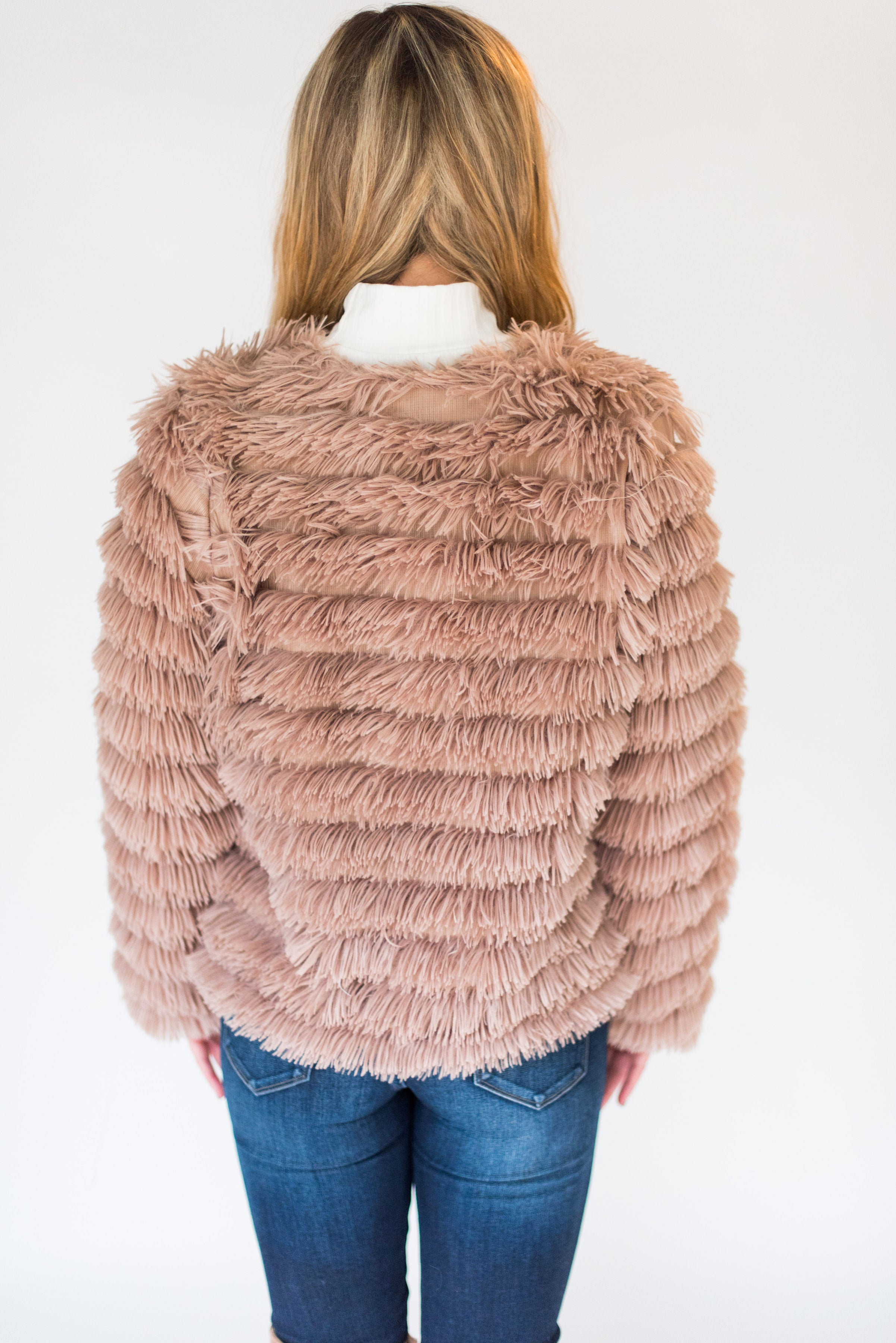 Fur-ever Yours Layered Faux Fur Jacket:  Cream & Mocha