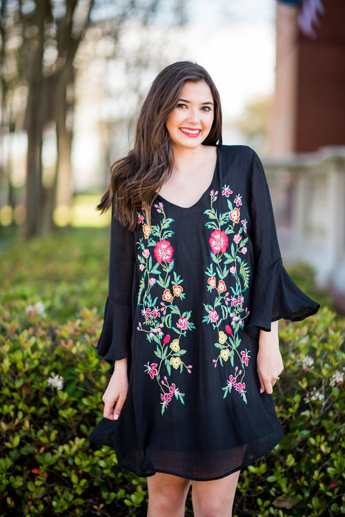 May Flowers Embroidered Shift Dress