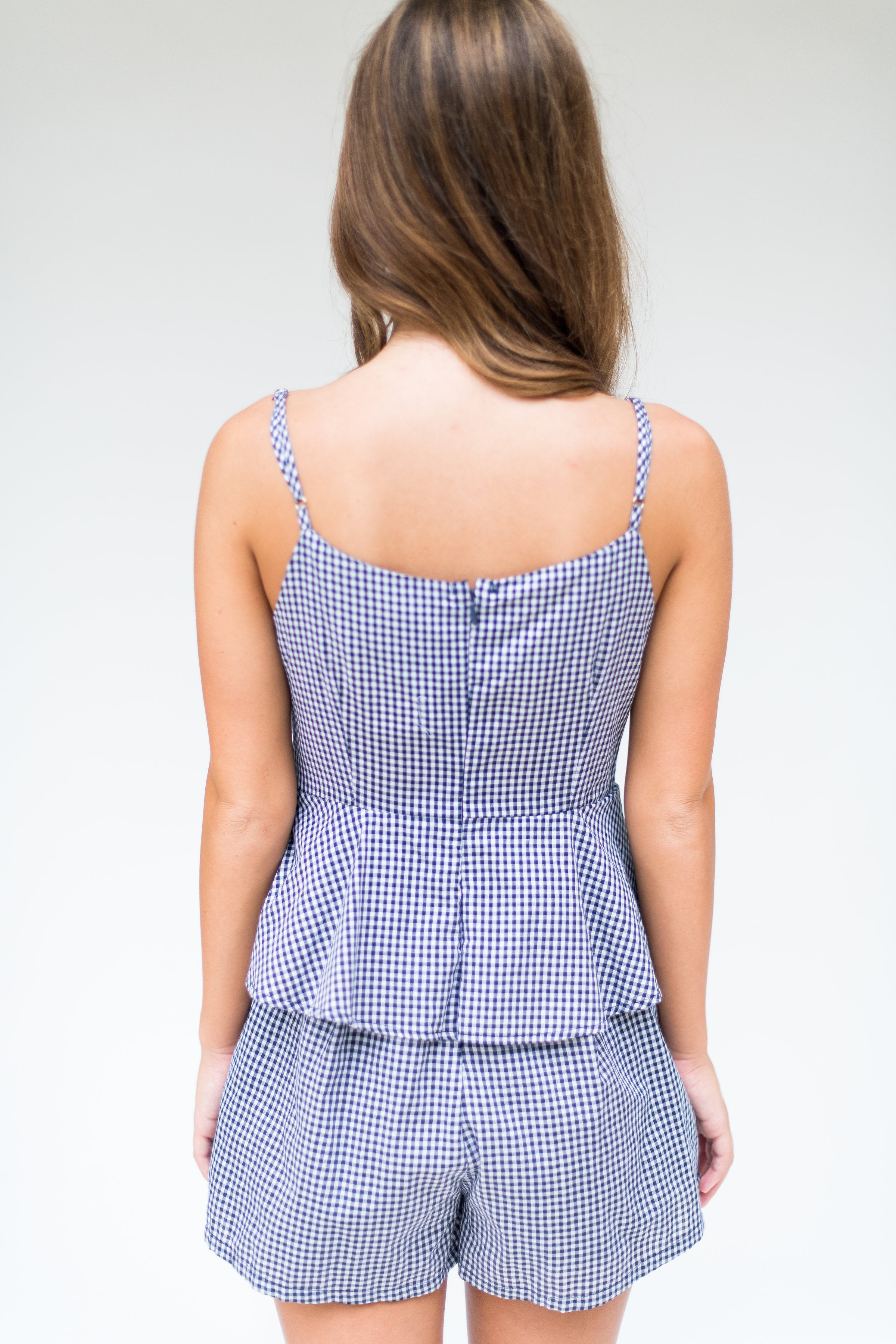 Check Yes or No Gingham Layered Romper with Bow:  Navy