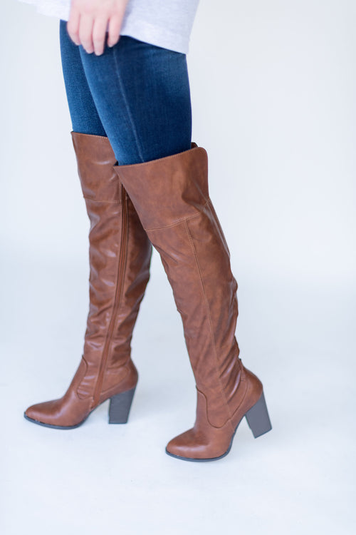 Above All Else Over the Knee Boots with Heel:  Cognac