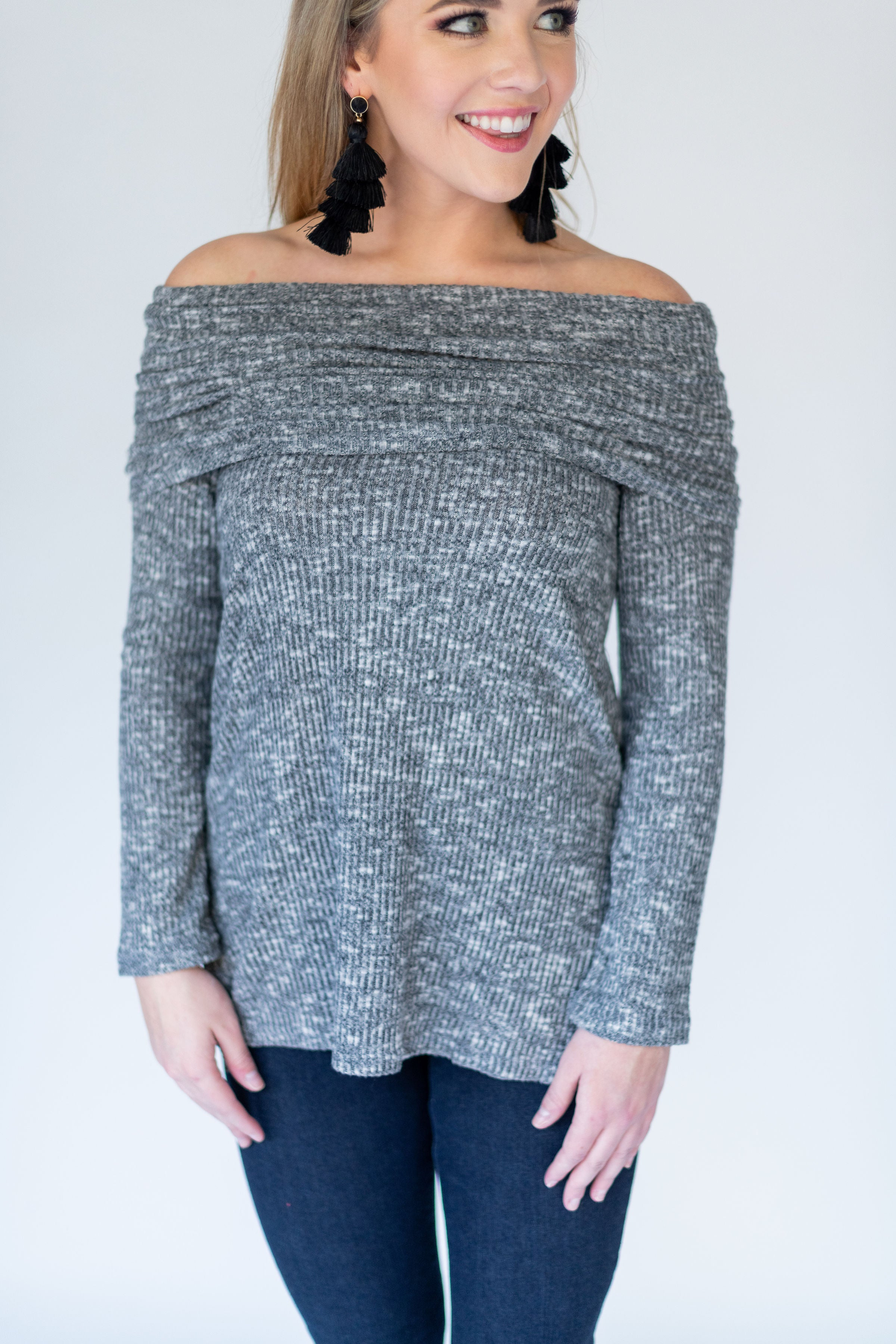 Wear It Two Ways Off the Shoulder/ Cowl Neck Sweater:  Charcoal & Grey