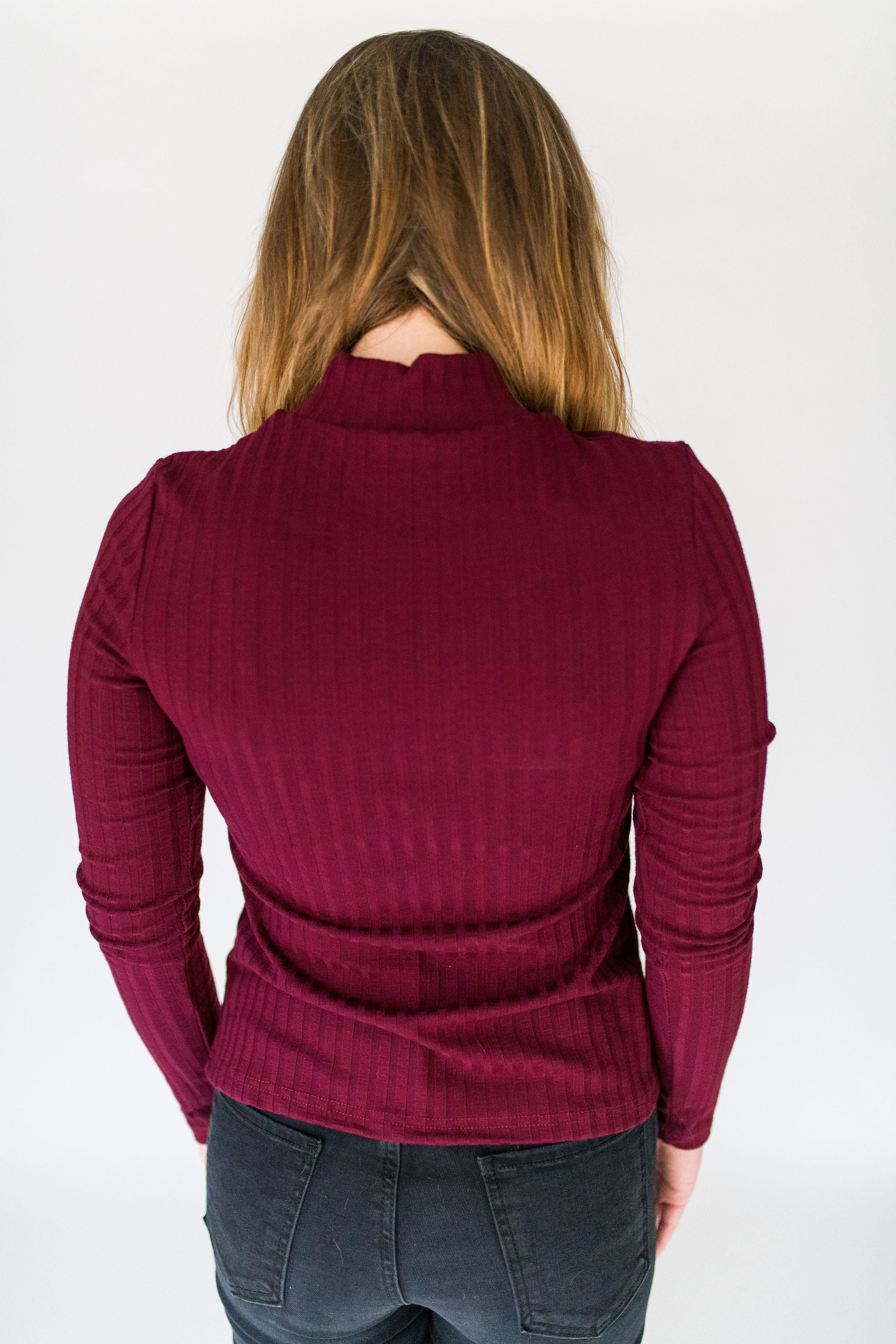 Basically Perfect Long Sleeve Mock Neck Top:  Wine