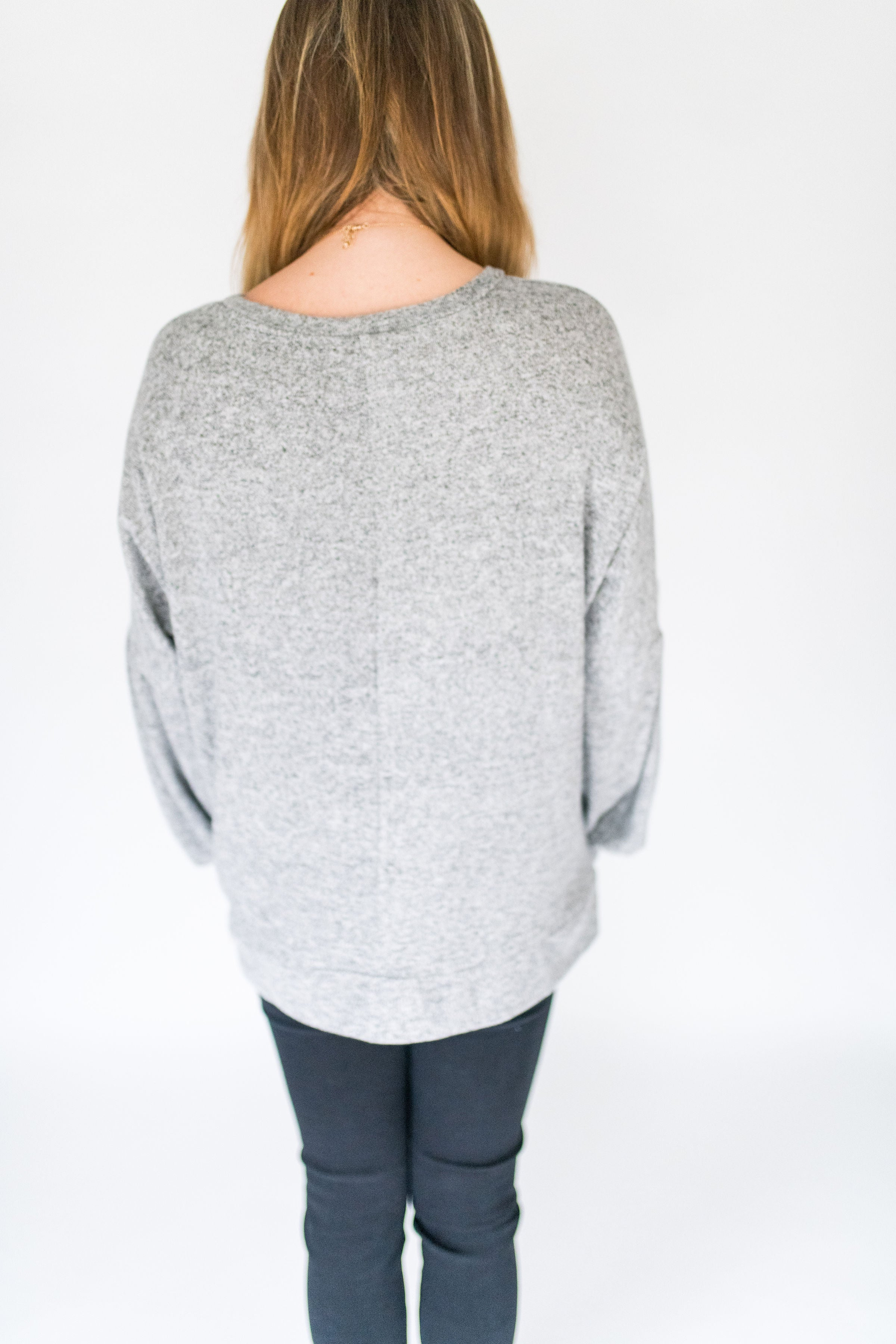 Cloudy Skies Ultra Soft Pullover Sweater:  Silver
