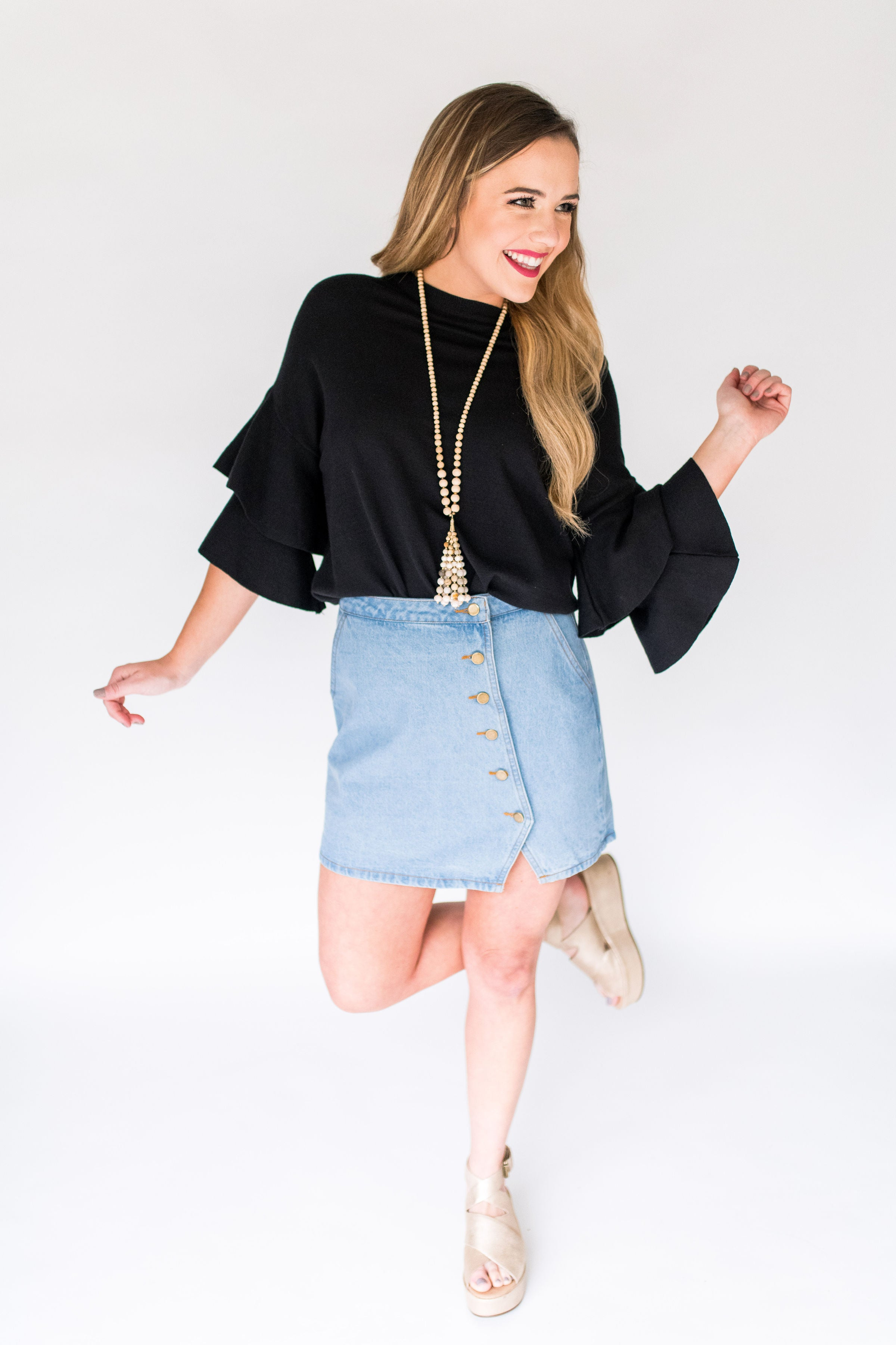 So It Goes Denim Skirt with Side Button Detailing:  Denim