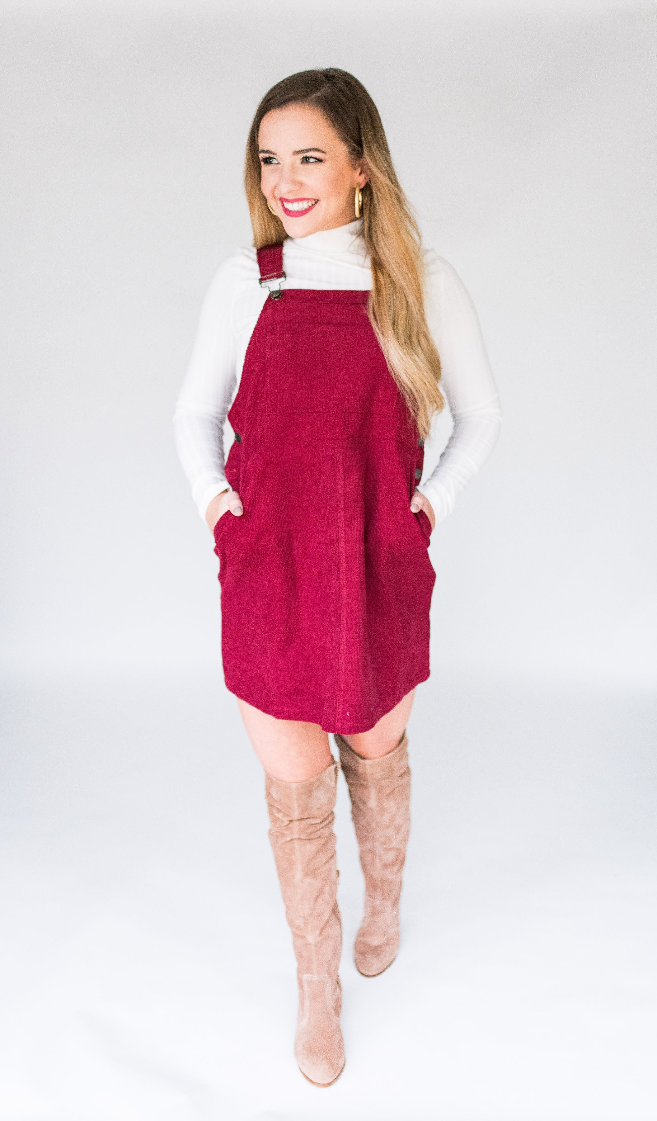 Olive You A Lot Corduroy Overall Dress with Front Pocket:  Wine