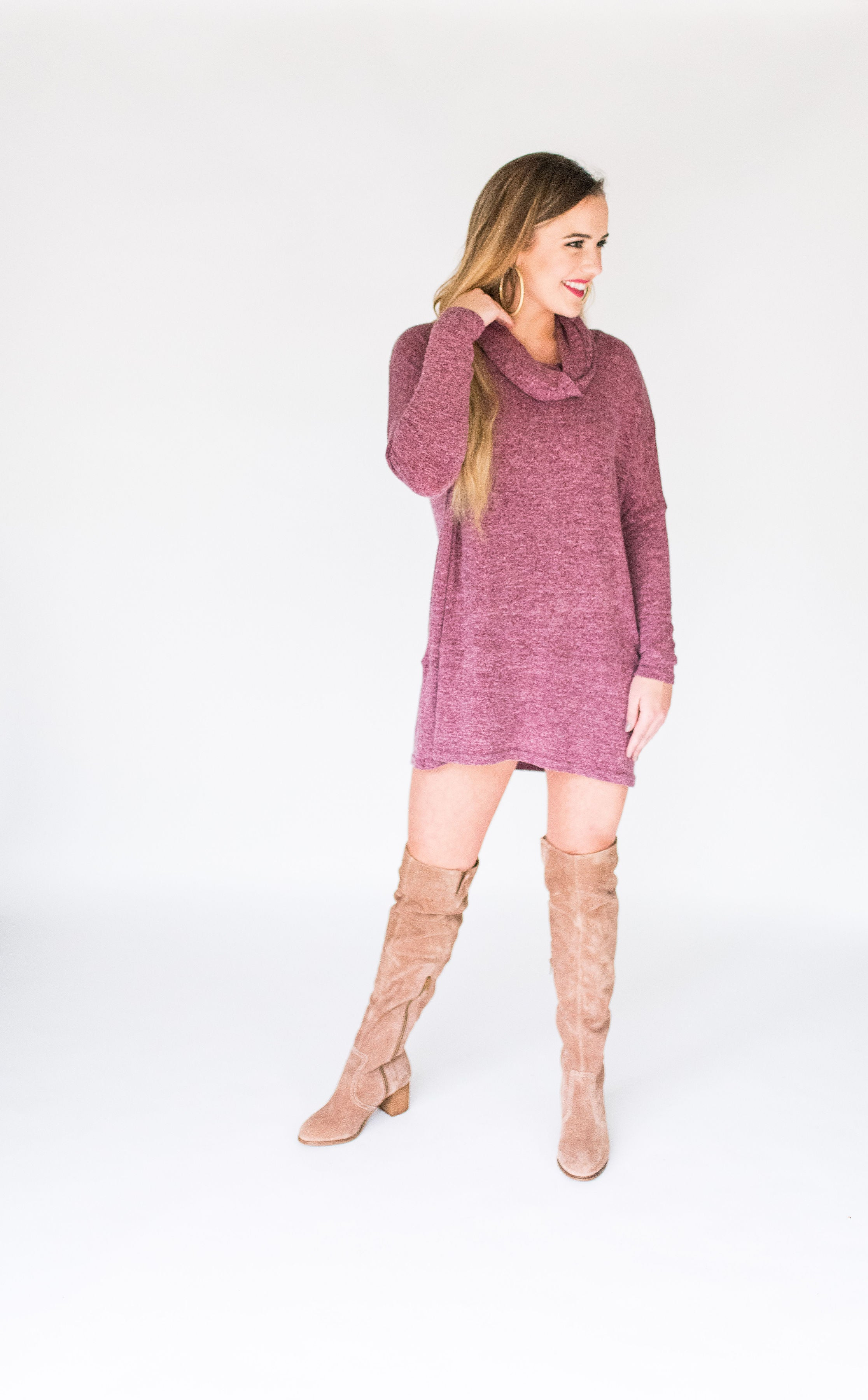 Fall in the South Light Weight Cowl Neck Sweater Tunic:  Wine