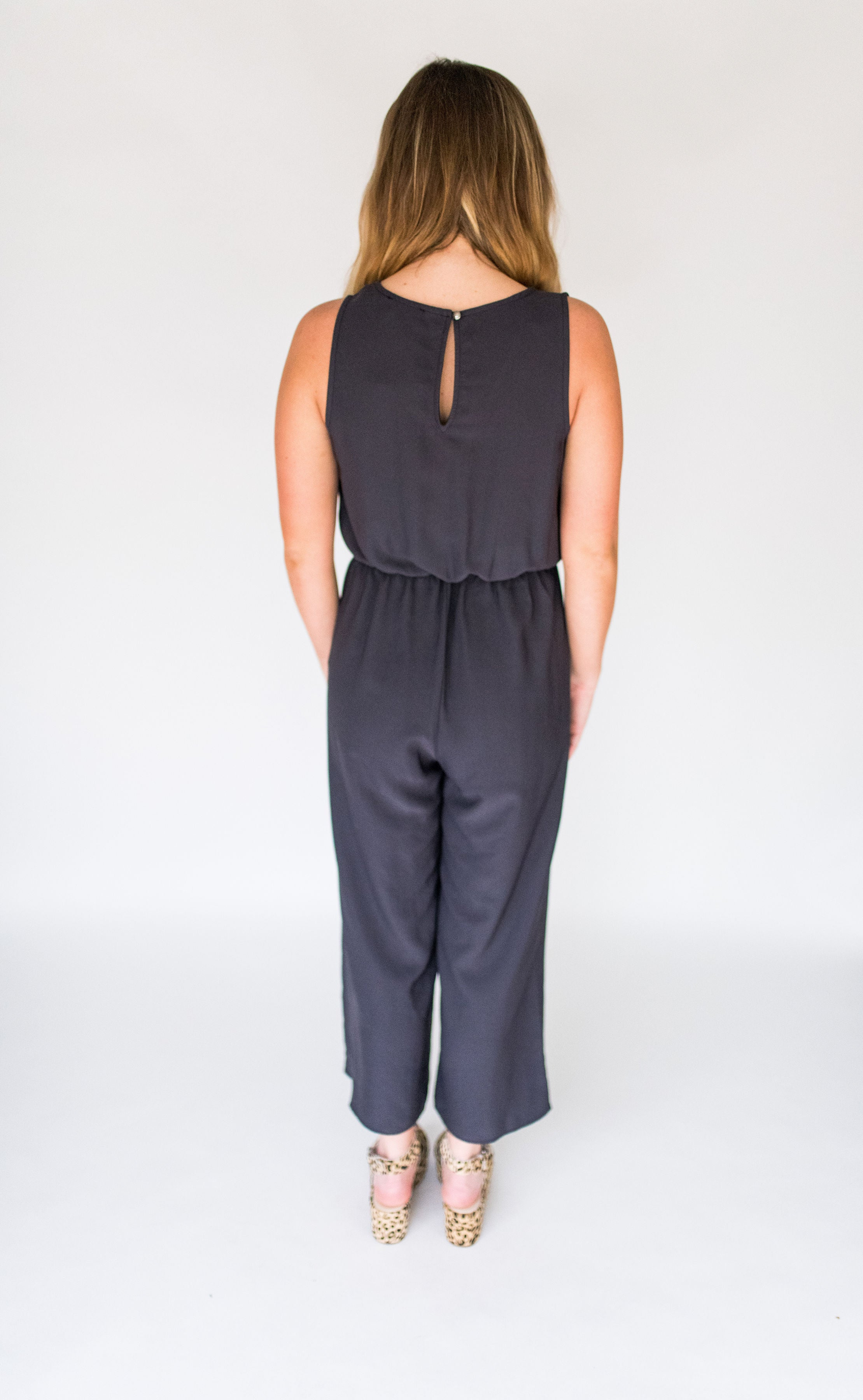 Best Believe It Sleeveless Jumper with Front Tie:  Washed Black