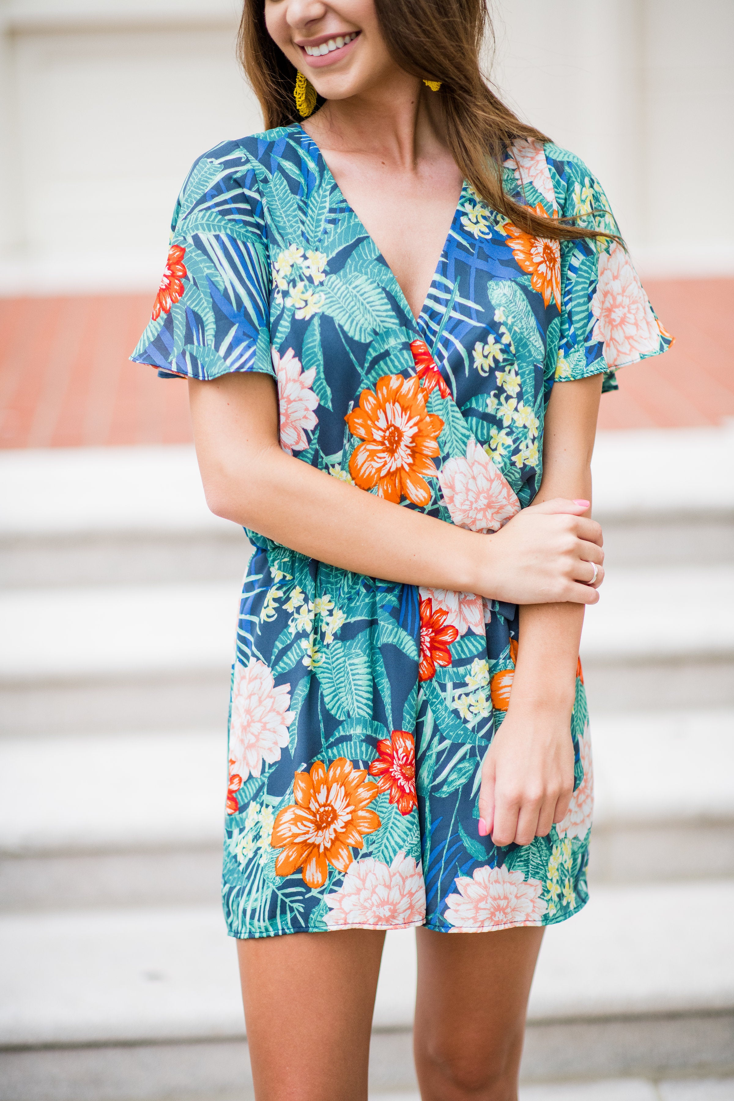 Trip to the Tropics Faux Wrap Romper:  Navy Multi
