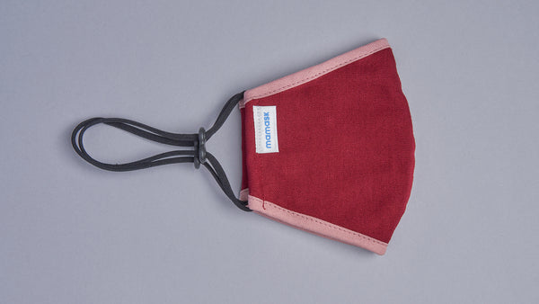 Burgundy (Rose Pink Piping) - Mamask