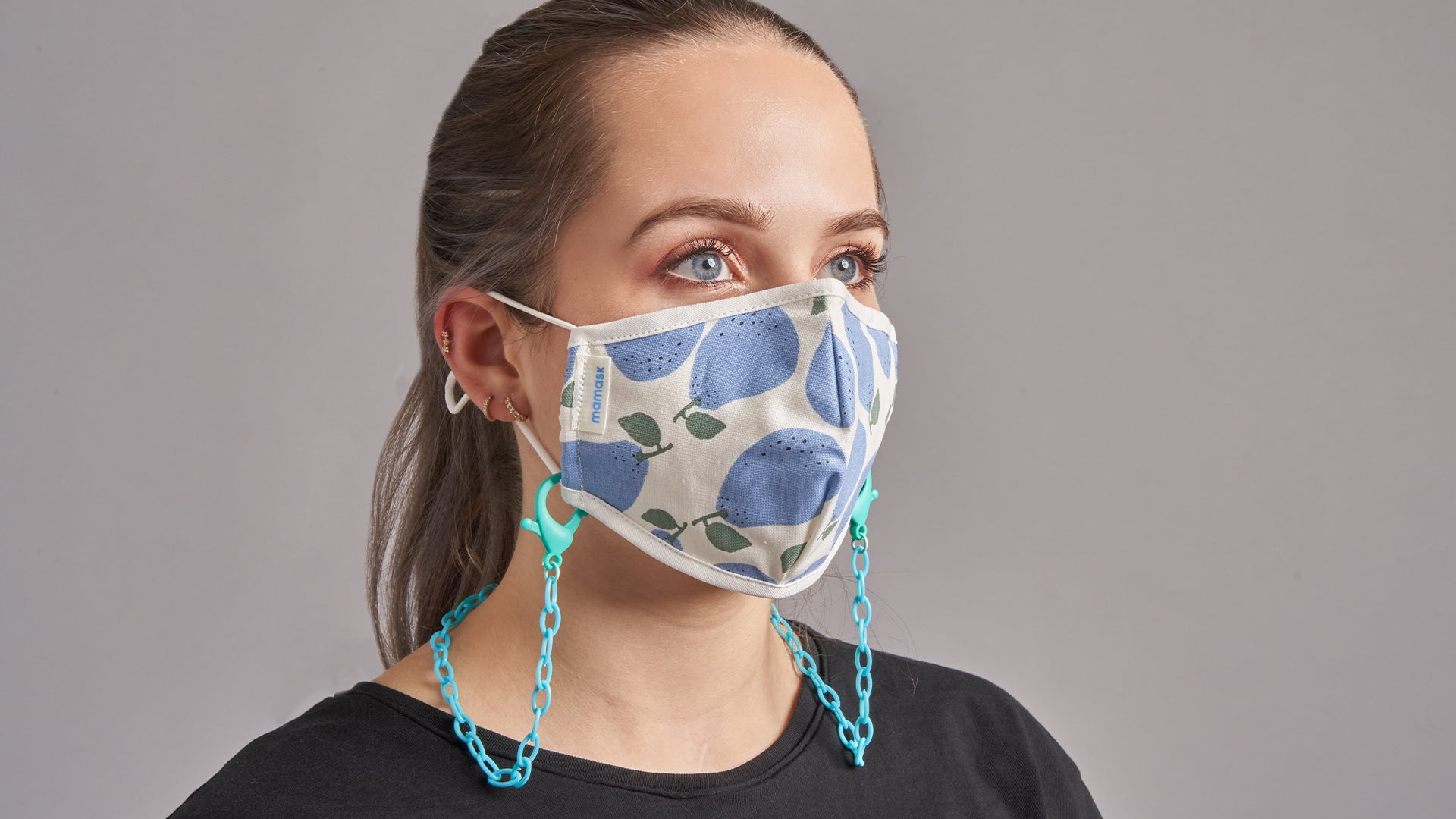 Rainbow & Turquoise Chain Mask Necklace - Mamask