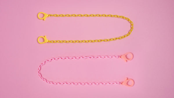 Yellow & Pink Chain Mask Necklace - Mamask