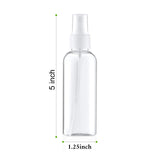 3 Pack 2 Oz 60ml Clear Plastic Mist Spray Bottle with Clear Cap Cover. BPA Free