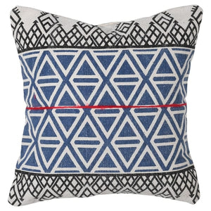 Blue Patterned Cushion with Red Stripe