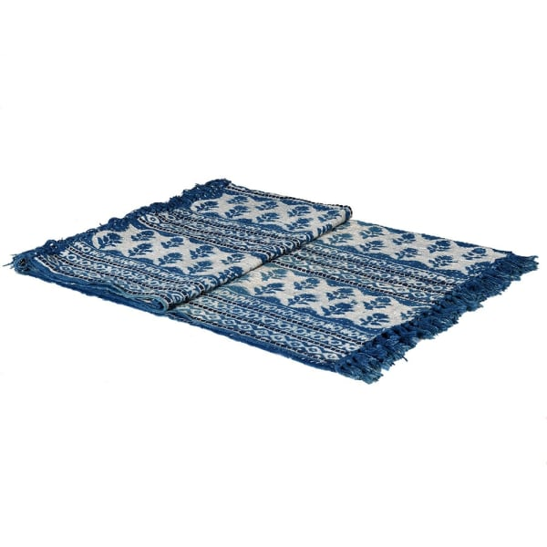 Blue and White Rose Block Print Throw