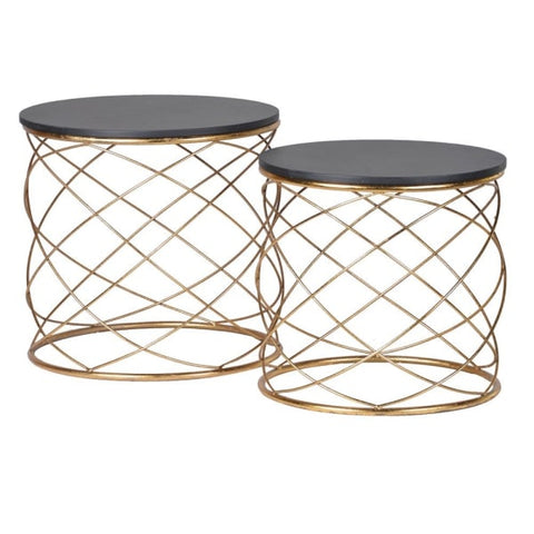 Set of 2 Gold Loop Tables