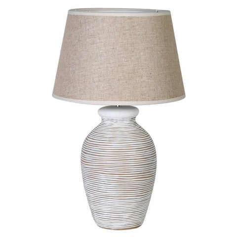 White Washed Lamp with Shade