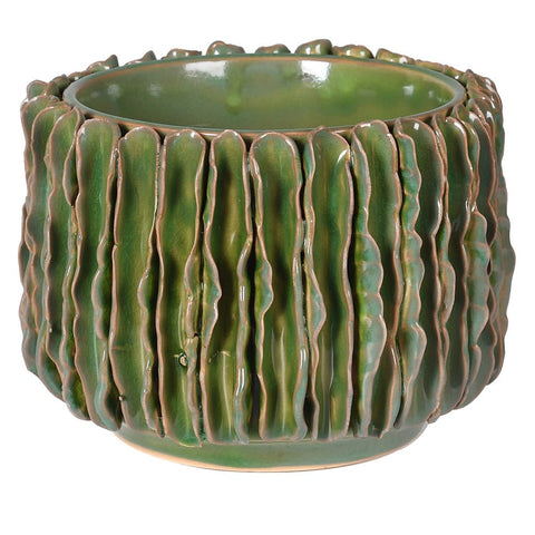 Green Wavy Ceramic Pot