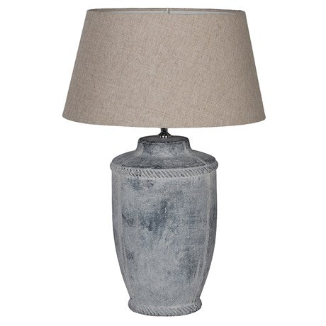 Antique Finish Lamp with Neutral Linen Shade