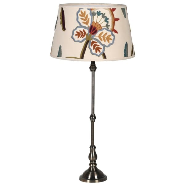 Metal Lamp with Crewel Shade