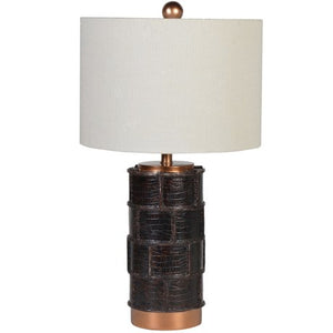 Leather Effect Lamp With Shade