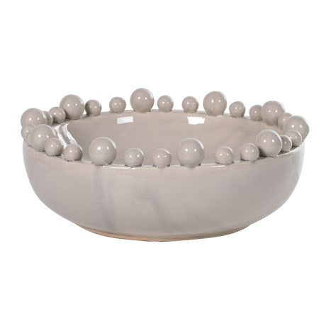 Cream Bowl with Balls on Rim