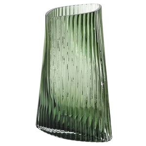 Green Ribbed Twisted Vase