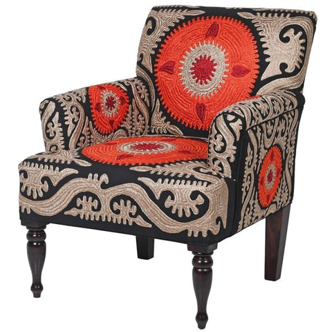Orange & Black Crewel Berere Chair