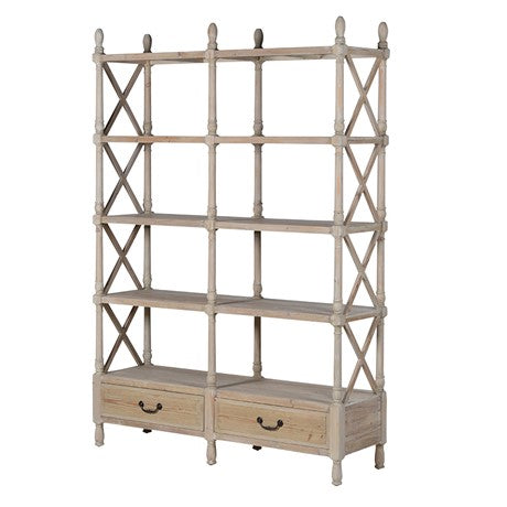 Natural Double Shelf Unit