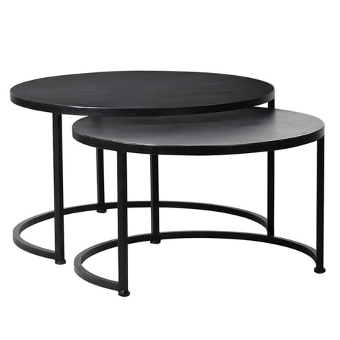 Set of 2 Round Iron Tables