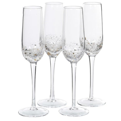 Set of 4 Gold Fleck Champagne Flutes