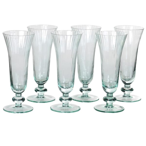 Set of 6 Green Ribbed Glass Flutes