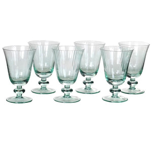 Set of 6 Green Ribbed Wine Glasses