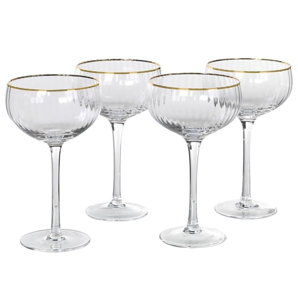 Set of 4 Ribbed Champagne Glasses
