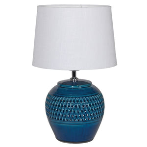 Dark Blue Dimple Lamp with Shade
