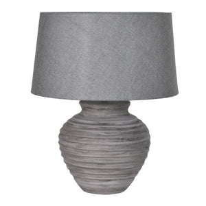 Grey Ribbed Lamp with Shade