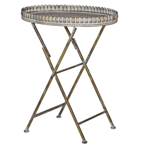 Oval Distressed Ornate Metal Tray Table