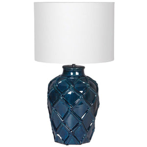 Deep Blue Rope Pattern Ceramic Lamp with Shade