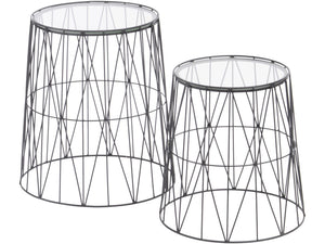 Set of 2 Black Wired Side Tables