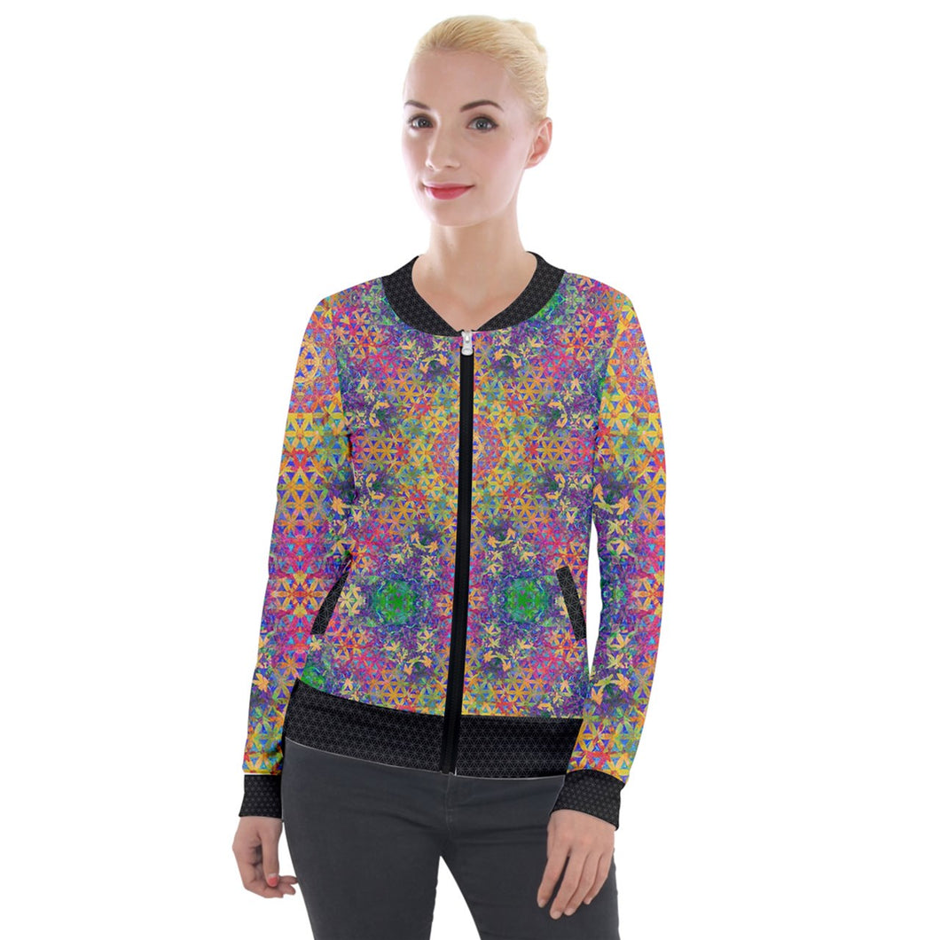 Flower of Life Rainbow Velvet Jacket