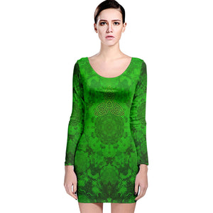 Celtic Greens Long Sleeve Velvet Bodycon Dress