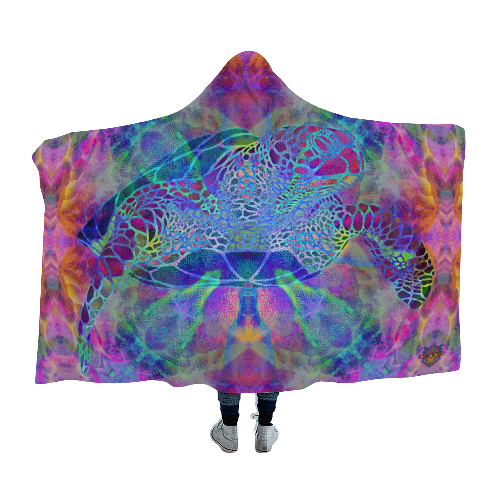 Psychedelic Turtle Hooded Blanket Cloak