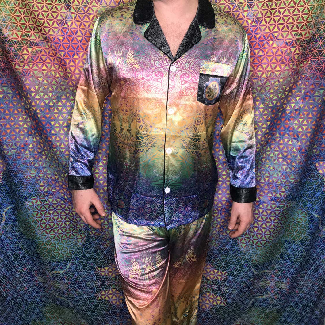 Stealie Tie-Die Men's Satin Lounge Suit