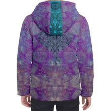 Load image into Gallery viewer, Purple Elephant Hooded Puffer Jacket