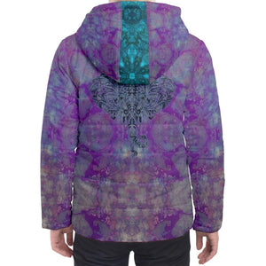 Purple Elephant Hooded Puffer Jacket